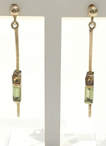 Peridot And Citrine Yellow Gold Drop Earrings